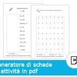 Generatore di schede di attività in Pdf